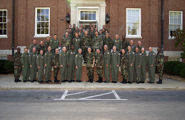 U.S. Air Force Eighteenth Air Force Commanders pose for a group photograph outside the newly dedicated Eighteenth Air Force Headquarters building at Scott Air Force Base, Ill., during the first Eighteenth Air Force Commanders Conference on Oct. 4, 2004. (U.S. Air Force photo by AIRMAN 1ST Class David A. Clark) (Released)