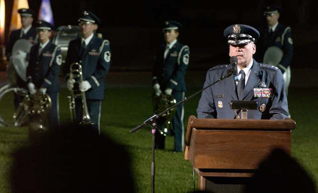 CHIEF of STAFF of the Air Force GEN. John P. Jumper, speaks during the United States Air Force Tattoo Ceremony at Bolling Air Force Base, Washington D.C.  on Oct.  5, 2004.  (U.S. Air Force PHOTO by STAFF SGT. Amber K. Whittington) (RELEASED)
