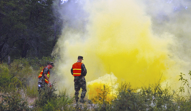 U.S. Air Force 1ST LT. Robert Prausa (right), 325th Security Forces Squadron Training and Resources Officer In Charge, watches 325th Security Forces Armory, Non-Commissioned Officer In Charge, STAFF SGT. Allen Merritt (left), extinguish a fire caused by a smoke grenade at Tyndall Air Force Base, Fla., on Oct. 8, 2004. (U.S. Air Force PHOTO by 1ST LT. Albert Bosco) (RELEASED)