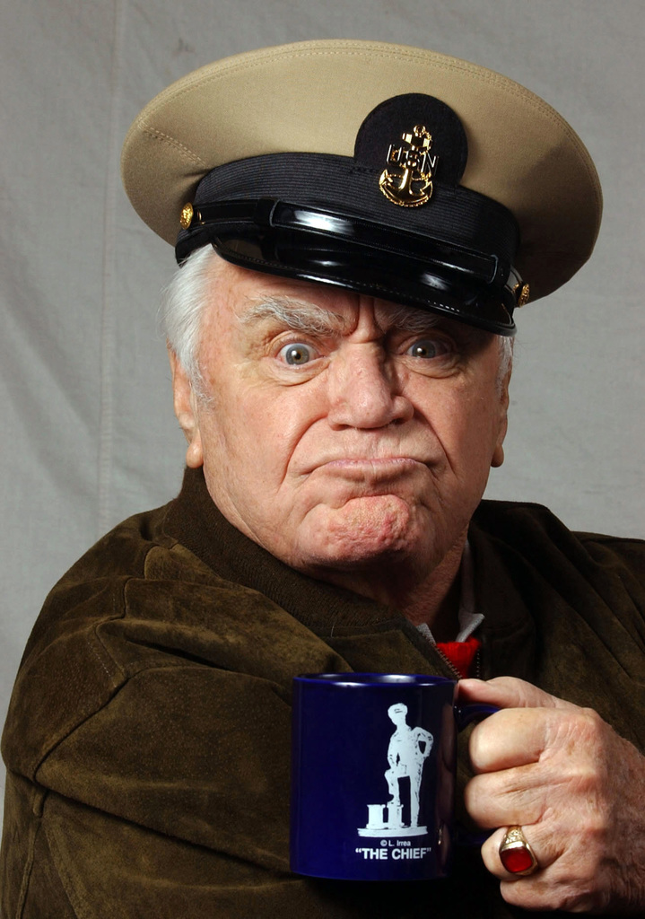 Academy Award winner and actor Ernest Borgnine shows off his new CHIEF PETTY Officer (CPO) cover at the Navy Memorial in Washington, District of Columbia (DC). Mr. Borgnine was made an honorary US Navy (USN) CPO by MASTER CHIEF PETTY Officer of the Navy (MCPON) Terry Scott [not shown] on October 15, 2004. Mr. Borgnine served in the Navy for ten years from 1935-1945 and left the service as a Gunners Mate First Class (GM1)