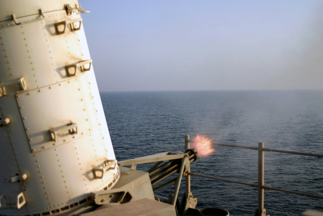 The US Navy (USN) Spruance Class guided missile destroyer USS SPRUANCE (DDG 963) conducts a Close-in Weapons System (CWIS) live fire test with its MK 15 Phalanx gun during a Pre-Aim Calibration Fire (PACFIRE) in the Persian Gulf
