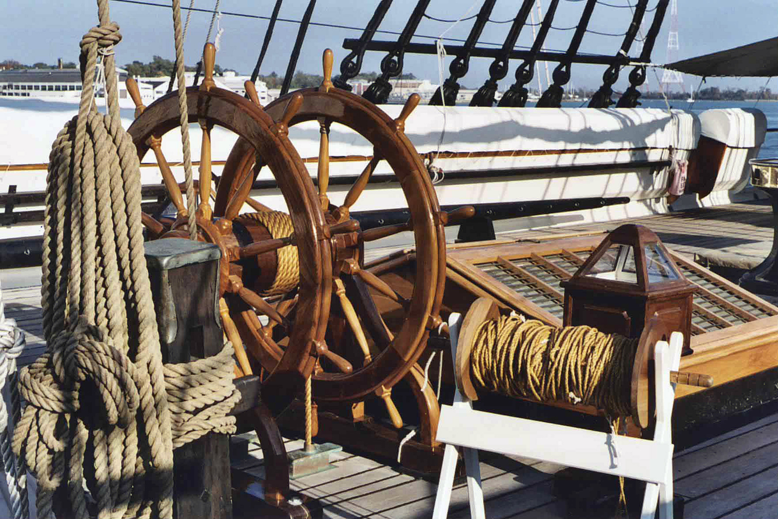 A view of the duel steering wheels onboard the deck of the All Sail, Civil War Era Warship, USS CONSTELLATION, moored to the pier at the US Naval Academy, at Annapolis, Maryland (MD).ryland (MD)