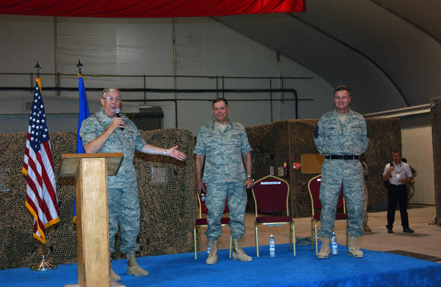 (From left-to-right), The Honorable Dr. James G. Roche, Secretary of the Air Force, U.S. Air Force GEN. John P. Jumper, Air Force CHIEF of STAFF, and CHIEF MASTER Sergeant of the Air Force Gerald R. Murray, visit the 380th Air Expeditionary Wing at Al Dhafra Air Base, United Arab Emirates, on Nov. 7, 2004. Wearing a new proposed Air Force uniform, the Air Force leadership team held meetings and brought messages of praise and encouragement to deployed Airmen. (USAF PHOTO by TECH. SGT. Erik Gudmundson) (Released)