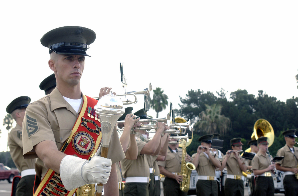 U.S. Marine Corps Drum Major STAFF SGT. Jesse L. Barta, Marine Band San Diego, stands at parade rest during the Friday morning colors ceremony at the Marine Corps Recruit Depot, San Diego, Calif. on Nov. 12, 2004.(U.S. Marine Corps official photo by Lance Corporal Jared M. Padula) (Released)