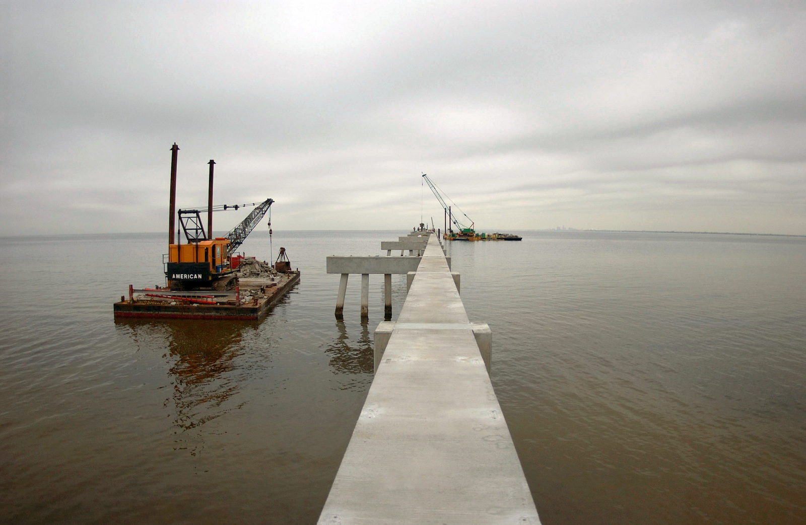 Construction is underway at the runway 04 approach lights