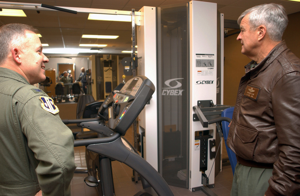 """U.S. Air Force 19th Air Force commander MAJ. Gen""""Buster""""Ellis (right), and 314th Airlift Wing commander COL. Joseph M. Reheiser (left), view the work out room at the new fire station, Little Rock Air Force Base, Ark., on Dec 2, 2004.(U.S. Air Force PHOTO by AIRMAN 1ST Class Vanessa Valentine) (Released)"""