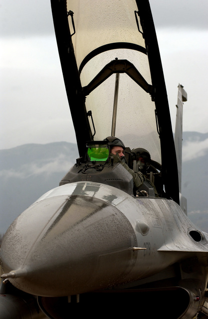 U.S. Air Force 510th Fighter Squadron pilot CAPT. Skylar Hester, conducts a preflight inspection in an F-16 Fighting Falcon fighter aircraft during an incentive flight for Enri Lisetto, one of Aviano's Honorary Commander's, at Aviano Air Base, Italy, on Dec. 3, 2004.  (U.S. Air Force PHOTO by STAFF SGT. Bethann Caporaletti) (Released)