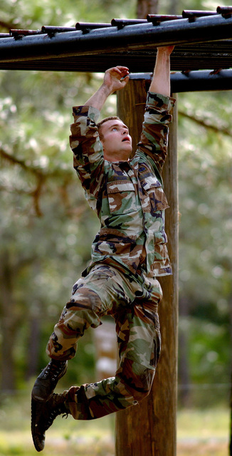 U.S. Air Force 19th Air Support Operations Squadron Tactical Air Control Party STAFF SGT. Jonathan Pinson swings on the monkey-bars during Dragon Challenge 04 at Avon Park, Fla., on Dec. 5, 2004.(U.S. Air Force PHOTO by STAFF SGT. Quinton T. Burris) (Released)