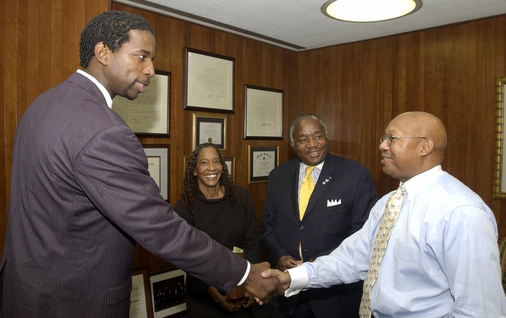 Secretary Alphonso Jackson with Charlene Jackson, A.C. Green, Fred Brown