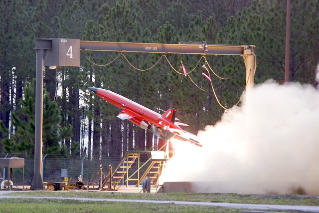 A U.S. Air Force BQM-167A Unmanned Aerial Vehicle (UAV) is launched from Tyndall Air Force Base, Fla., on Dec. 22, 2004. The BQM-167A is powered by a ventrally mounted turbojet engine. It can be air or ground launched, and can carry the full range of current target payloads, including radar enhancers, countermeasures, scoring devices, and towed targets. (USAF PHOTO by Bruce Hoffman, CIV) (Released)