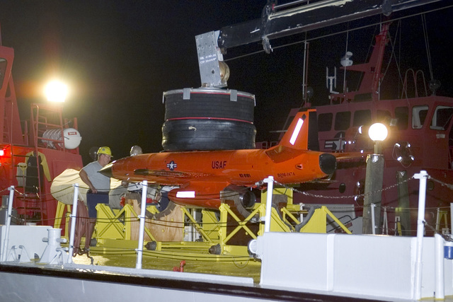 A U.S. Air Force BQM-167A Unmanned Aerial Vehicle (UAV) is recovered on the deck of a boat at Tyndall Air Force Base, Fla., on Dec. 22, 2004. The BQM-167A is powered by a ventrally mounted turbojet engine. It can be air or ground launched, and can carry the full range of current target payloads, including radar enhancers, countermeasures, scoring devices, and towed targets. (USAF PHOTO by Bruce Hoffman, CIV) (Released)