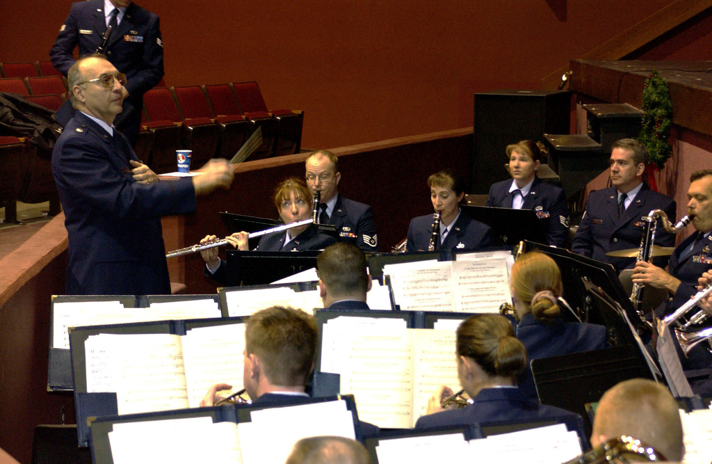 U.S. Air Force LT.. COL. Robert Krichbaum and his 555th Air National Guard Band of the Great Lakes perform patriotic music during the send off ceremony for the Ohio Air National Guard 200th Rapid Engineer Deployable Heavy Operations Repair Squadron Engineers (RED HORSE) Squadron at the Oak Harbor High School in Oak Harbor, Ohio on Dec. 28, 2004. (USAF PHOTO By SSgt Beth Slater) (Released)