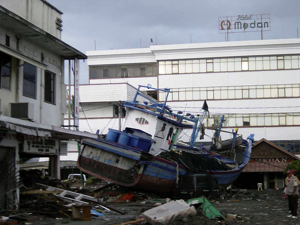 Shot Of A Boat Tossed Ashore Near The Hotel Medan In Downtown Aceh Sumatra Indonesia In The Aftermath Of The Massive Tsunami That Struck The Area On December 26 2004 Picryl