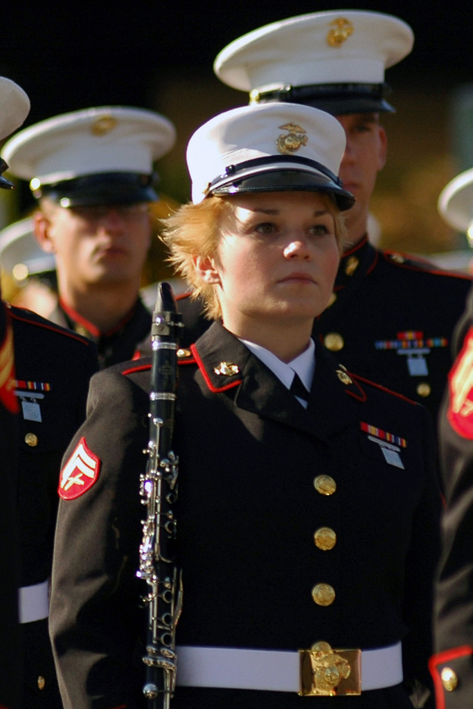 US Marine Corps (USMC) Corporal (CPL) Kristen Turner, a clarinet player for the 1ST Marine Division Band, marches in the annual Tournament of Roses Parade Pasadena, California (CA)
