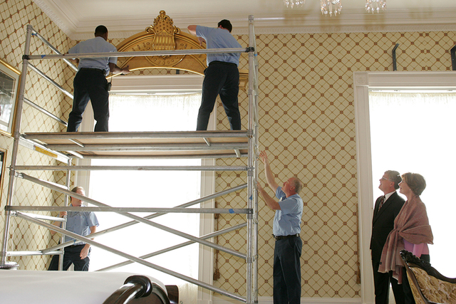 Mrs. Laura Bush and White House Curator Bill Allman Observe Lincoln Bedroom Renovations