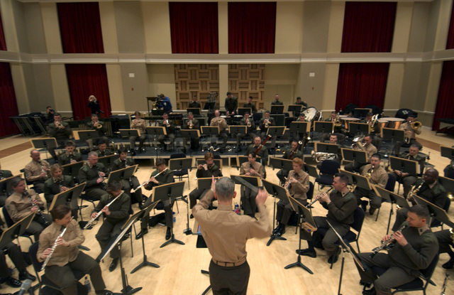 "The United States Marine Band,""The President's Own"", rehearses for the 55th Presidential Inauguration under the direction of U.S. Marine Corps LT. COL.  Michael J. Colburn at the Marine Barracks Annex at Washington, D.C., on Jan. 5, 2005. The band, founded in 1798, has played at every inauguration since Thomas Jefferson's presidency. (USAF PHOTO by STAFF SGT. Jacob N. Bailey- Released)"