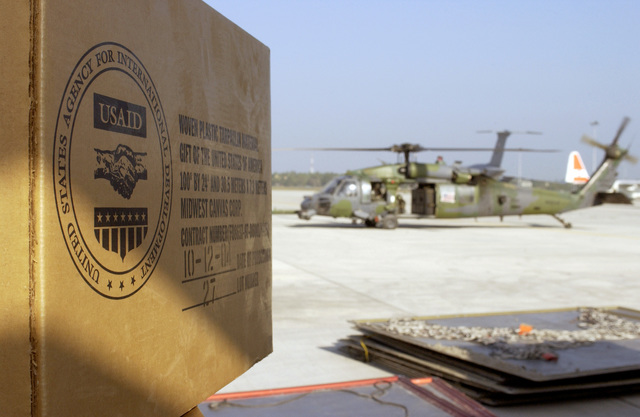 A U.S. Air Force 33rd Rescue Squadron HH-60 Pave Hawk helicopter, waits to be loaded with aid supplies during Operation Unified Assistance at Colombo, Sri Lanka, on Jan. 15, 2005.(U.S. Air Force PHOTO by STAFF SGT. James Harper) (Released)