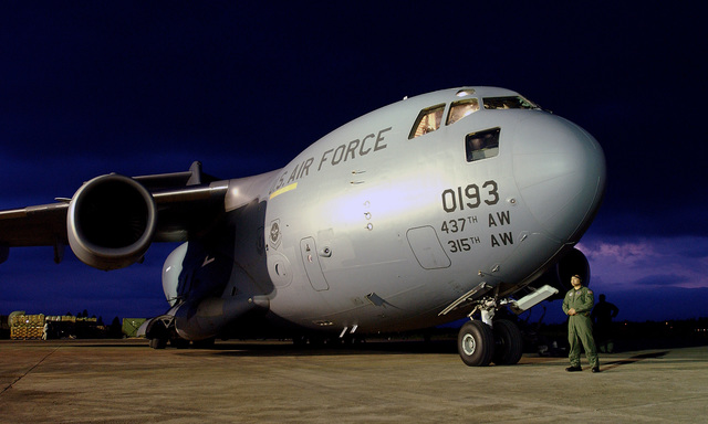 A U.S. Air Force C-17 Globemaster III cargo aircraft parked on the flight line during Operation Unified Assistance near Banda Aceh, Indonesia, on Jan 15, 2005. (U.S. Air Force PHOTO by STAFF SGT. Aaron D. Allmon) (Released)