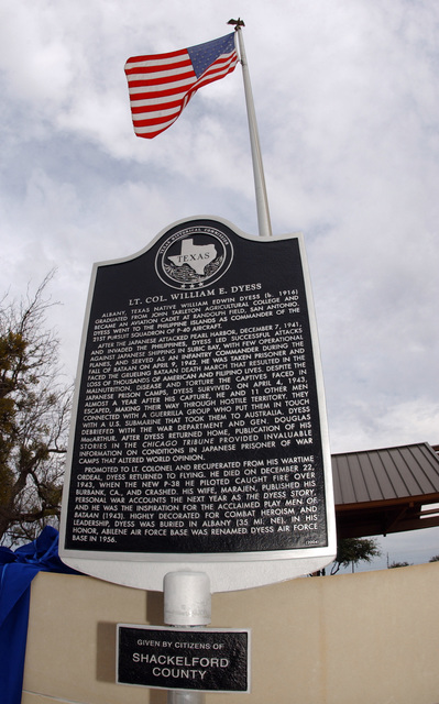 The memorial plaque for U.S. Air Force LT. COL. William E. Dyess displayed at Dyess Air Force Base, TX., on Jan. 21, 2005. (U.S. Air Force PHOTO by SENIOR AIRMAN Araceli Alarcon) (Released)