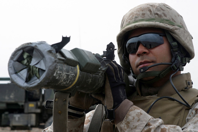US Marine Corps (USMC) Sergeant (SGT) Orlando Arocho, a Rifleman with Weapons Company, 3rd Battalion, 3rd Marine Regiment, looks through the sights of an M136 AT-4 Light Anti-Armor Weapon (LAW) while providing security during an operation in Khowst Province, Afghanistan. The 3rd Battalion, 3rd Marines are engaged in Security and Stabilization Operations (SASO) in Afghanistan, in support of Operation ENDURING FREEDOM