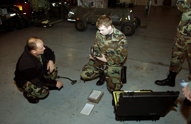 MASTER SGT. Larry Heinemann (left), of the 114th Fighter Wing, North Dakota Air National Guard, instructs SENIOR AIRMAN Jeffery Mersch (right), on the proper use of the 1760 functional check cables during training at Joe Foss Field at Sioux Falls, S.D., on Feb. 6, 2005. (U.S. Air Force PHOTO by MASTER SGT. Scott H. Leebens) (Released)