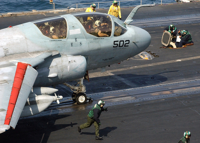 050211-N-2805L-010 (Feb. 11, 2005)A US Navy (USN) EA-6B Prowler electronic warfare aircraft, Electronic Attack Squadron 130 (VAQ-130), launches from the USN Nimitz Class Aircraft Carrier USS HARRY S. TRUMAN (CVN 75) located in the Persian Gulf in support of the Global War on Terrorism (GWOT).  U.S. Navy official photo by Photographers Mate 3rd Class Lillana LaVende (RELEASED)