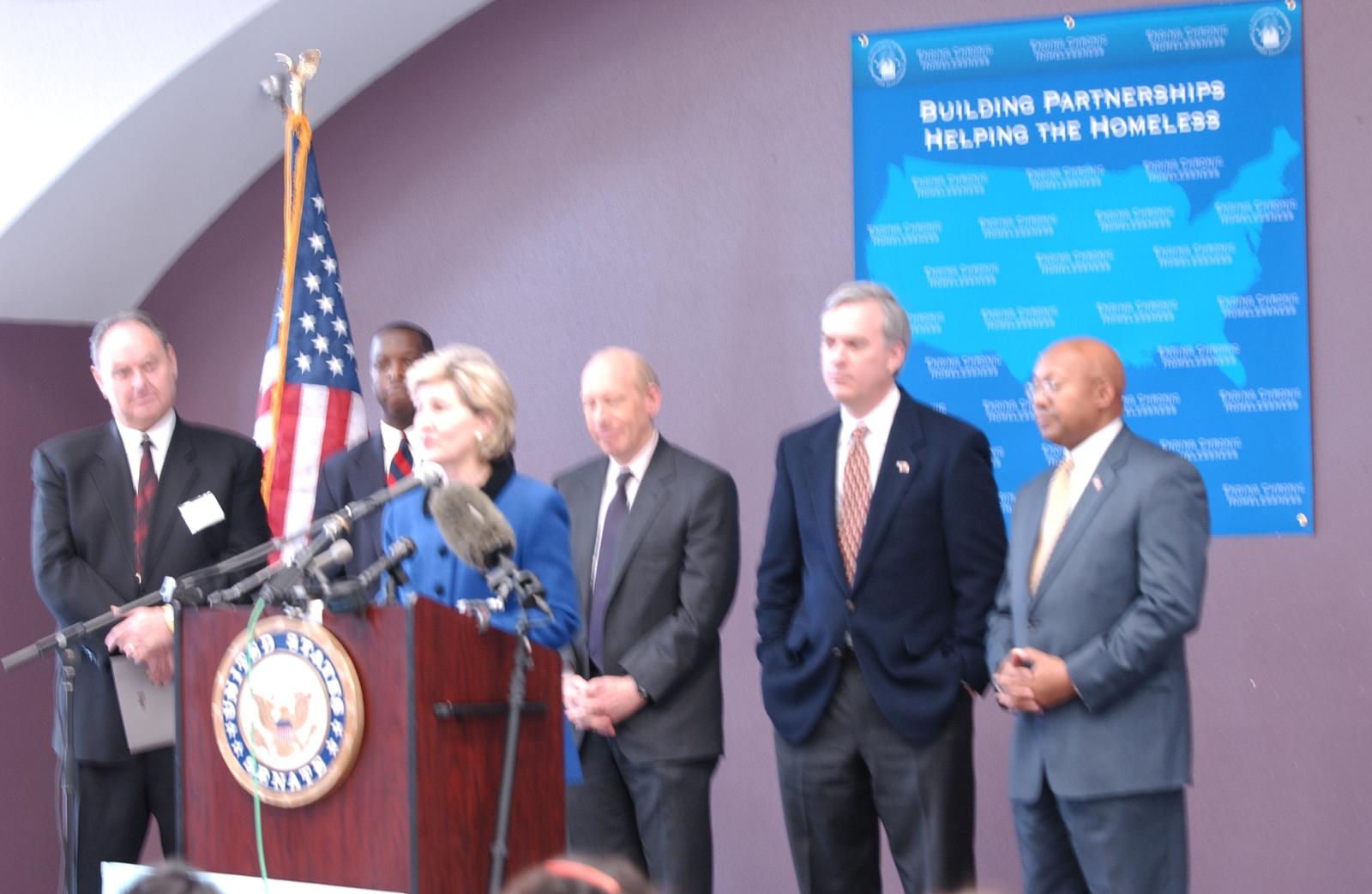 Secretary Alphonso Jackson with Senator Kay Bailey Hutchison at Homeless Funding Announcement