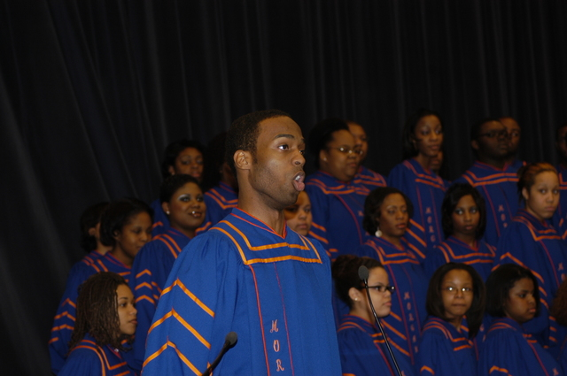 [Assignment: 59-CF-DS-19466-05] African American History Celebration, in Dean Acheson Auditorium, [featuring performance by Morgan State University Choir, and remarks by guest speakers including: Secretary Condoleezza Rice; Bernard LaFayette, Jr., 1960's civil rights leader, Director of the Center for Nonviolence and Peace Studies at the University of Rhode Island; Dorothy Height, long-time civil rights and women's rights activist, President Emeritus of the National Council of Negro Women; and Romeo Crennel, head coach of the National Football League's Cleveland Browns... [Photographer: Ann Thomas--State] [59-CF-DS-19466-05_DSC_1762.JPG]