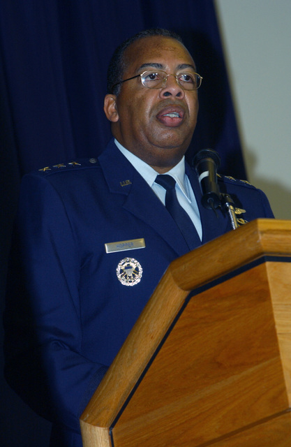 U.S. Air Force LT. GEN. John D. Hopper Jr., Vice Commander of the Air Education and Training Command, Randolph Air Force Base, Texas, speaks during the Black History Month Luncheon at Dover Air Force Base, Del., on Feb. 25, 2005. (PHOTO by Jason Minto, CIV) (Released)