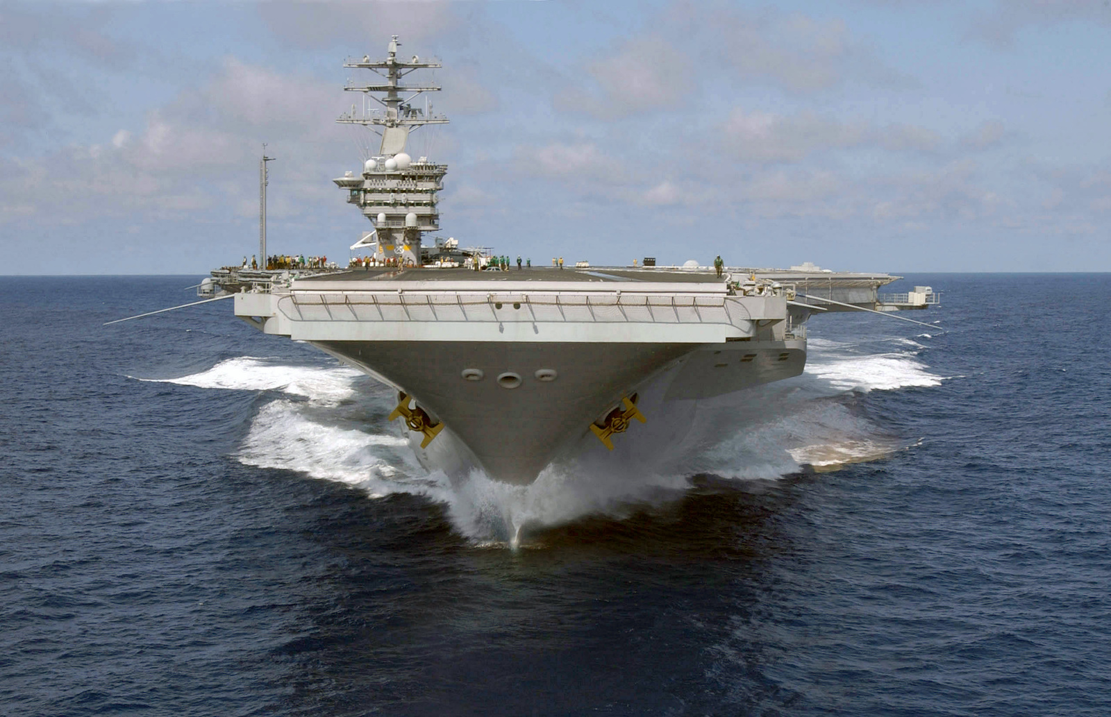 Bow view of the US Navy (USN) Aircraft Carrier USS NIMITZ (CVN 68) underway off the