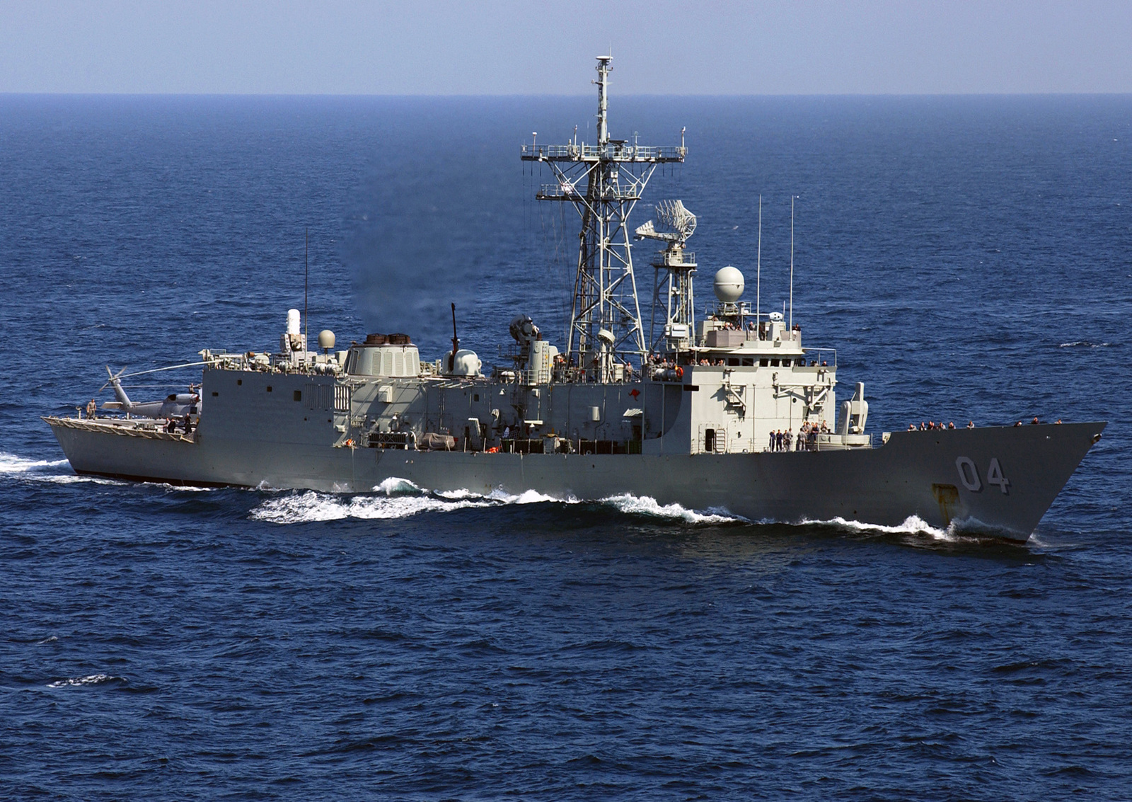 Starboard view of the Royal Australian Navy Adelaide Class Guided Missile Frigate HMAS (Her Majestys Australian