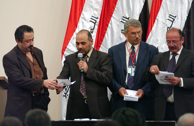 The Transitional National Assembly (TNA) met for its 4th session in Baghdad, Iraq. Nominations were taken and a vote was cast. The votes were then read aloud as a tally was kept. Iraq's parliament has chosen Kurdish leader Jalal Talabani as the country's new president and his deputies will be former President Ghazi Yawer, a Sunni Arab, and Finance Minister Adel Abdul Mahdi, who is Shia. The three candidates received 227 votes, while 30 ballots were left blank. The voting happened during the Operation IRAQI FREEDOM timeline