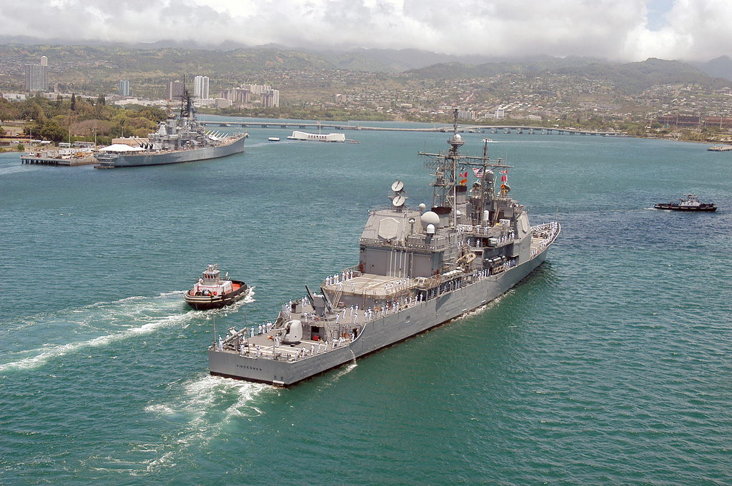 Stern view of the US Navy (USN) Ticonderoga Class Guided Missile Cruiser USS VINCENNES (CG 49) entering Pearl Harbor, Hawaii (HI), for a scheduled port visit. This is the ship's last port call before being decommissioned at San Diego, California (CA)