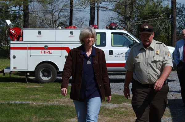 Visit of Secretary Gale Norton, in advance of Earth Day, to Blackwater National Wildlife Refuge, Cambridge, Maryland, to view results of a cooperative federal, state, local, private project for hazardous fuels reduction on 900 acres of the Refuge, involving partners ranging from the Fish and Wildlife Service to local volunteer fire departments