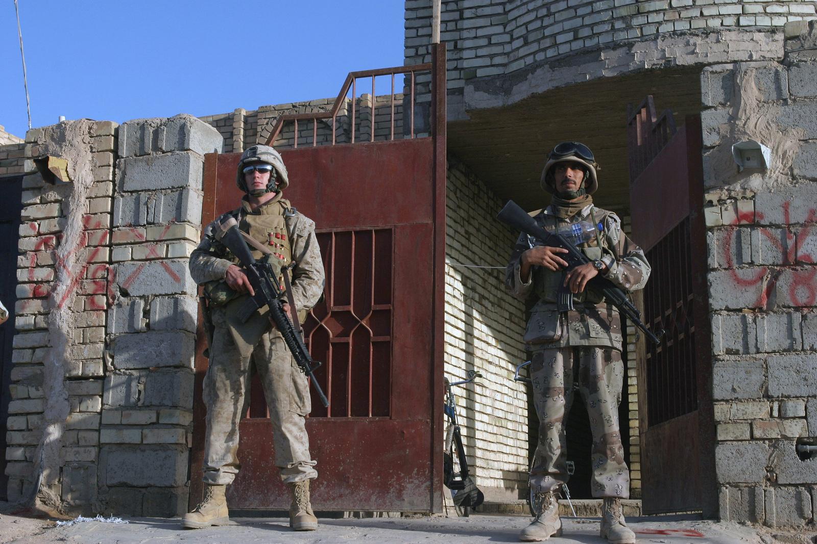 US Marine Corps (USMC) Lance Corporal (LCPL) JP A  Napier (left