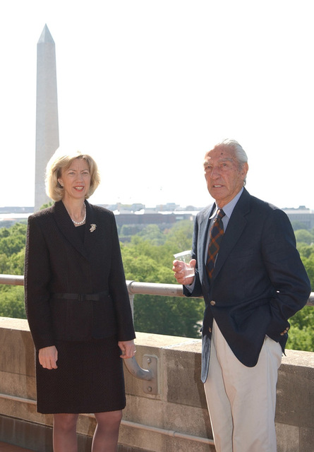 Secretary Gale Norton with former Secretary of Interior Stewart Udall, right. Photograph, from coverage of Department of Interior headquarters event honoring the former Secretary, was selected for use in preparation of Interior video on the Norton tenure
