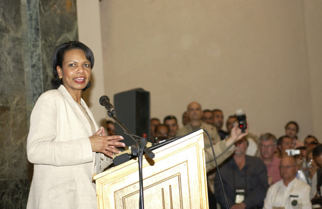 US Secretary of State, Dr. Condoleezza Rice, addresses US Embassy personnel at the American Embassy in Baghdad, Iraq, during Operation IRAQI FREEDOM