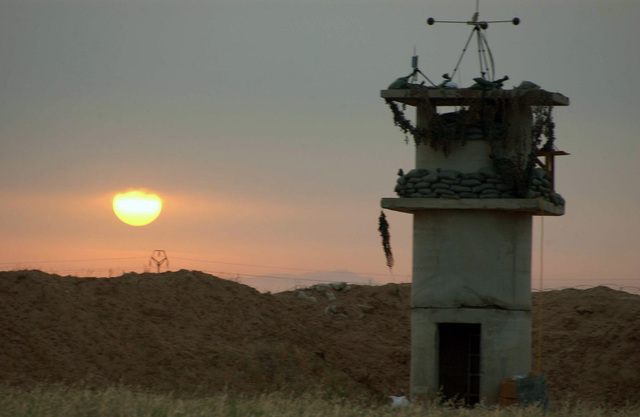 An early morning view from a watchtower at Forward Operating Base (FOB) McHenry, Kirkuk, Iraq (IRQ), during Operation IRAQI FREEDOM