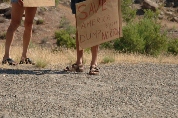Protesters at the renaming ceremony for the McInnis Canyons National Conservation Area, west of Grand Junction, Colorado. The 122,300-acre area, designated in 2000 as the Colorado Canyons National Conservation Area, was renamed, to honor former Colorado Congressman Scott McInnis' legislative efforts, in a Bureau of Land Management-hosted ceremony featuring McInnis, Secretary Gale Norton
