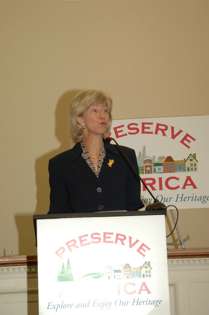 Secretary Gale Norton speaking at Washington, D.C. event featuring announcement of the designation of 24 localities as Preserve America communities
