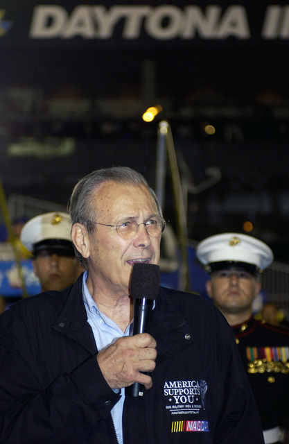 The Honorable Donald H. Rumsfeld, U.S. Secretary of Defense, announces the start of the National Association of Stock Car Auto Racing (NASCAR) Pepsi 400 Race at Daytona International Speedway, Fla., on July 2, 2005. Sec. Rumsfeld was the Grand Marshall of the event. (DoD photo by TECH. SGT. Cherie A. Thurlby) (Released)