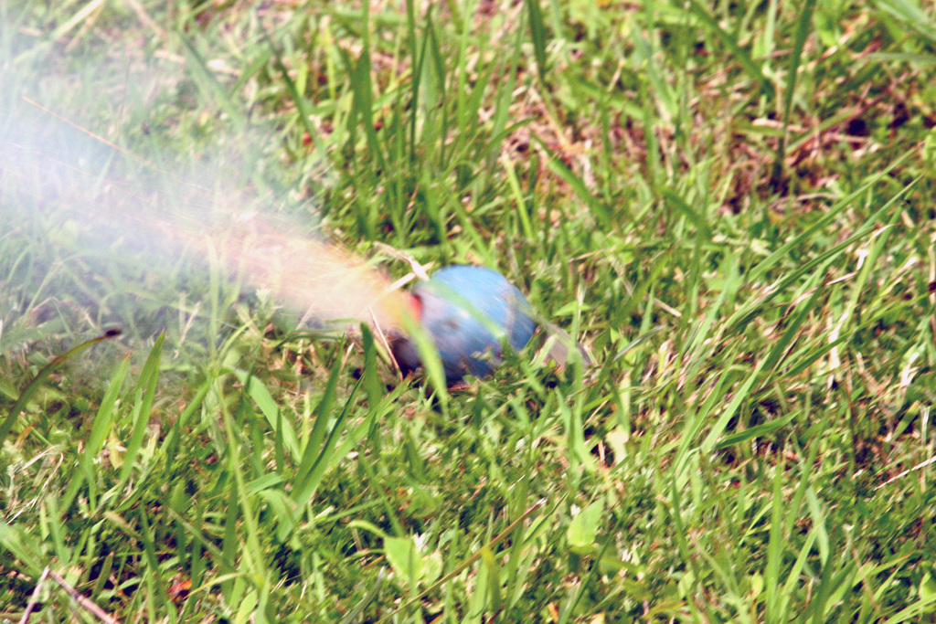 PHOTO of an M69 practice hand grenade going off at the