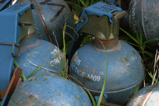PHOTO of M69 practice hand grenades with M228 fuses installed and ready for use at Grenade Range Camp Fuji, Japan. The M69s are part of the training during exercise Fuji Incremental Training Program (FITP) 2004