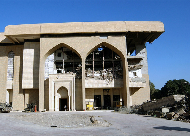 A view showing bomb damage to the Baath Party Headquarters building located in the International Zone (IZ) in central Baghdad, Iraq. Taken during Operation IRAQI FREEDOM