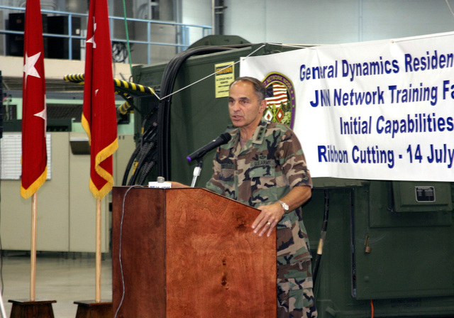 US Army (USA) Lieutenant General (LGEN) Steven W. Boutelle, USA CHIEF Information Officer (G-6), speaks to the audience during the grand opening celebration of the new Joint Network Node (JNN) Network Training Facility (JNNTF), at the General Dynamics C4 Systems Resident School, in Brant Hall, Fort Gordon, Georgia (GA). The JNNTF is designed to prepare USA Signal Corps Soldiers for the next generation of battlefield communications to deliver integrated voice, video, and data to battalion level units using commercial, off-the-shelf technology and software