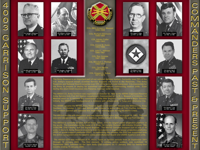 Poster of the past and present Commanders of the 4003rd Garrison Support Unit, Army Reserve (AR). A history of the 4003rd is featured on the poster along with the unit crest. Below the crest is a list of earlier Commanders not pictured