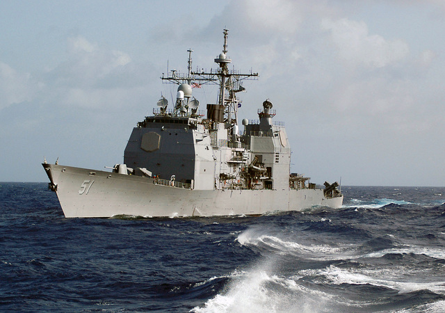 A port bow view of the US Navy (USN) Ticonderoga Class: Guided Missile Cruiser (Aegis), USS THOMAS S. GATES (CG 51), underway in the Caribbean Sea during Exercise UNITAS 46-05. The Exercise is a Southern Command sponsored Exercise with the objective of increasing interoperability and fostering cooperation among naval forces in the region