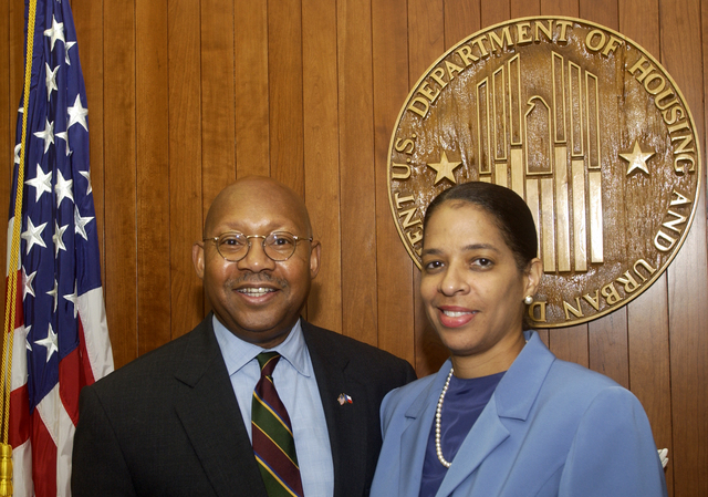 Secretary Alphonso Jackson with Dr. Lori Moon