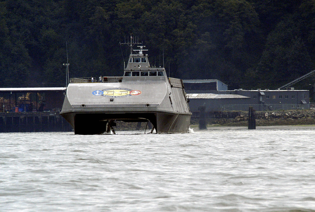 The US Navy (USN) X-Craft, SEA FIGHTER (FSF-1), underway outside the Port Of Everett, Washington (WA). Sea Fighter, a high-speed aluminum catamaran, will evaluate the hydrodynamic performance, structural behavior, mission flexibility, and propulsion system of high-speed vessels and test a variety of technologies, allowing the Navy to operate more effectively in littoral or near-shore waters