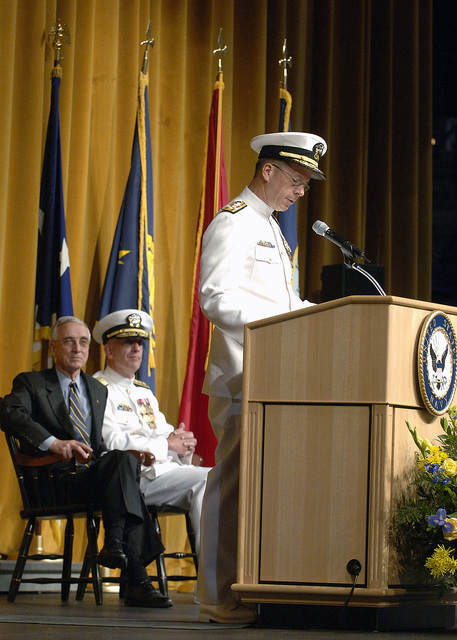 """U.S. Navy Admiral (ADM) Michael""""Mike""""G. Mullen delivers his remarks after assuming command as CHIEF of Naval Operations (CNO) during a change-of-command ceremony at the US Naval Academy. U.S. Secretary of Defense Donald Rumsfeld (left) presided at the ceremony. (DoD photo by Ken Mierzejewski) (Released)"""